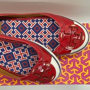 Tory Burch Channing Cherry Red Patent Leather Sz 8